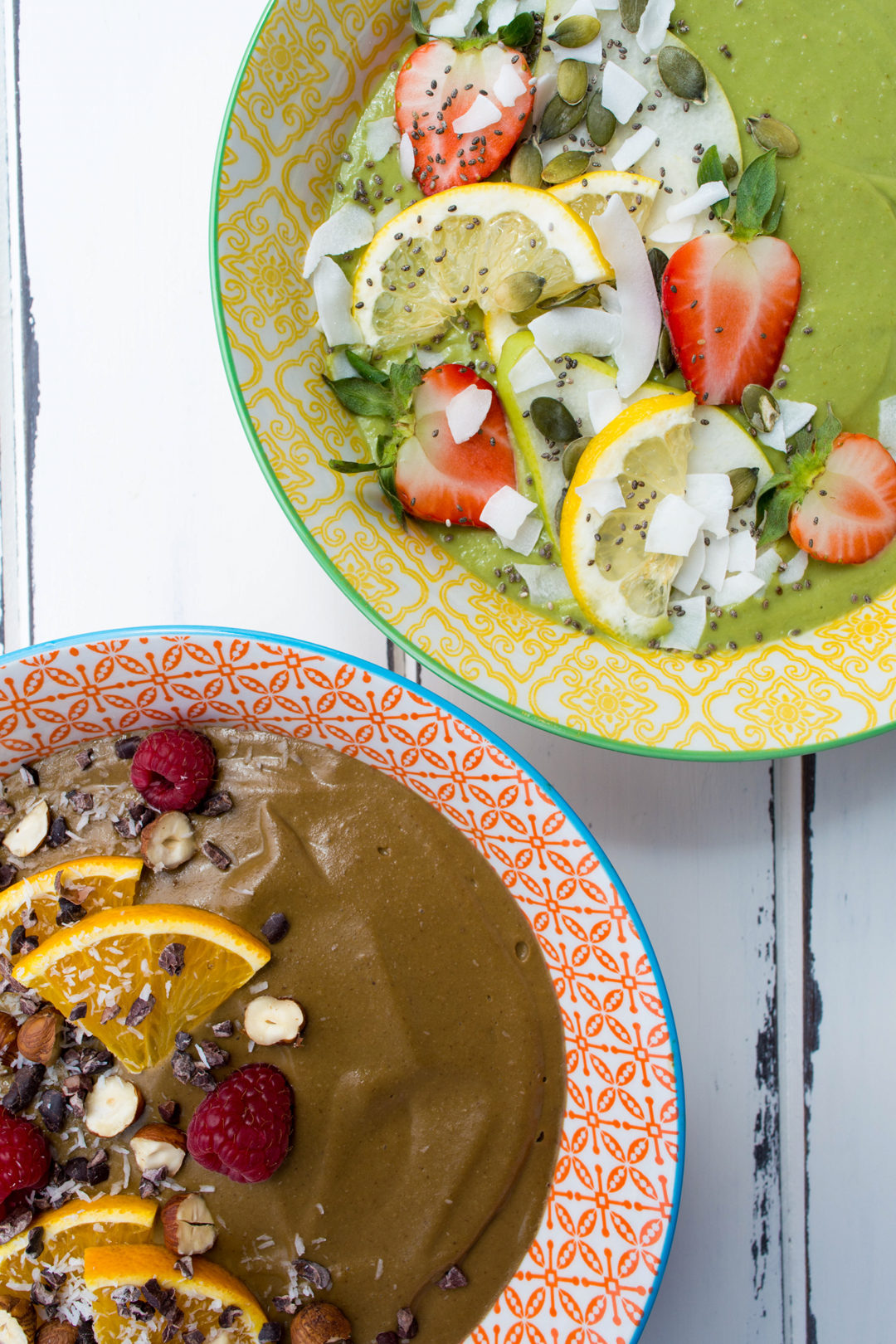 Two Smoothie Bowls: Lemon Pear Chocolate Hazelnut