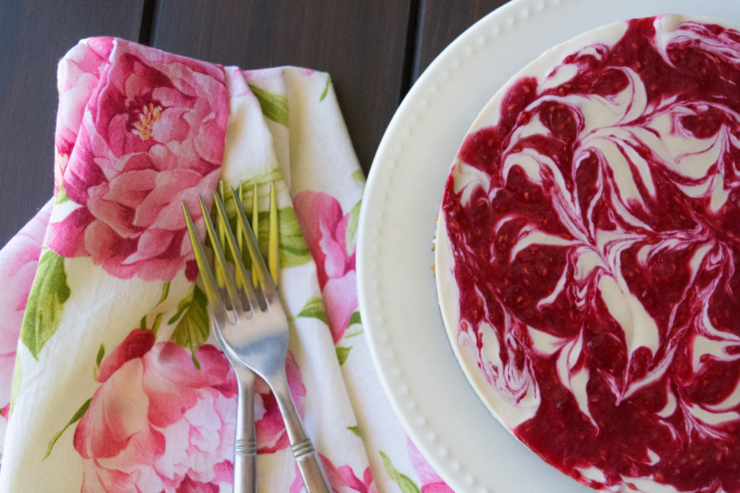 Vegan Raspberry Swirl Cheesecake
